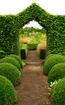 "The shape of the hedge is repeated in geometric figures of the boxwood in the ""summer garden""."